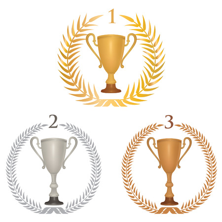 Winner cup trophies set with laurel wreath. Golden, silver and bronze awards isolated. Vector