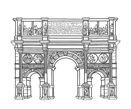 arcos de piedra: Arco aislado. Roma edificio famoso arco de Constantin. Vector el bosquejo.
