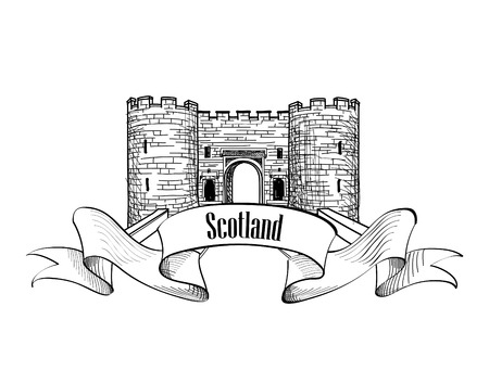 lowlands: Scotland label with ribbon and copy space. Scotch famous Stirling castle sketch symbol, Stirlingshire, Scotland. Illustration