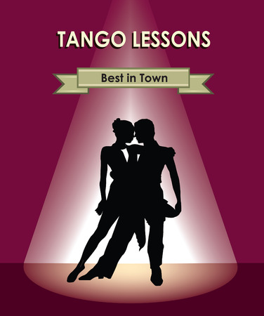 Dancing club poster. Couple dancing. Beautiful professional dancers perform tango dance with passion. Vector
