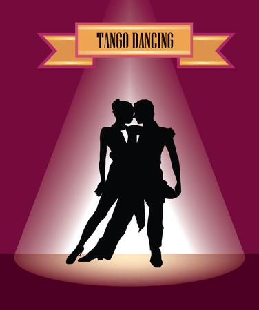 tangoing: Dancing club poster. Couple dancing. Beautiful professional dancers perform tango dance with passion.