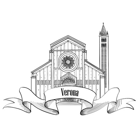 middleages: Verona city label. travel Italy icon. Famous italian building Church of San Zeno sketch. Sightseeing icon.