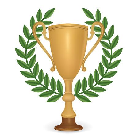 Winner cup with laurel wreath. Vector