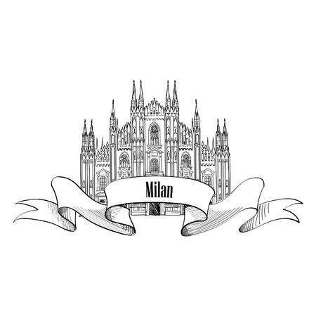 kopule: Milan symbolů. Cestovní ikony Itálie. Ručně malovaná skica. Duomo katedrála v Miláně