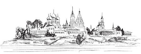 orthodoxy: Ancient russian city. View of Kolomna town. The Golden Ring of Russia. Illustration