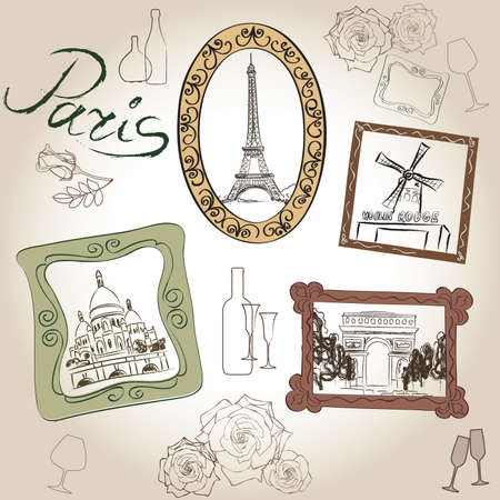 coeur: Paris icons set. Hand-drawn sketch of France landmarks: Eiffel Tower Basilica of the Sacred Heart of Paris lamppost fashion Arc de Trimphe Moulin Rouge Illustration
