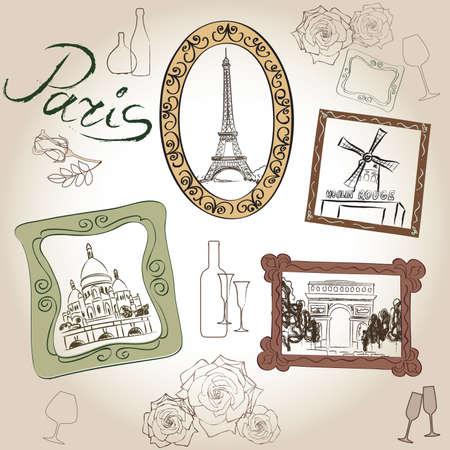 rouge: Paris icons set. Hand-drawn sketch of France landmarks: Eiffel Tower Basilica of the Sacred Heart of Paris lamppost fashion Arc de Trimphe Moulin Rouge Illustration