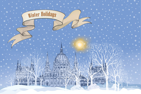 winter wallpaper: Winter holiday snow background. Merry Christmas greeting card. Snowy city wallpaper.