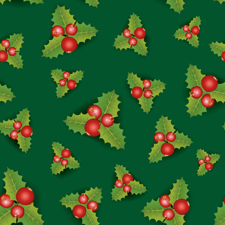 Christmas Seamless Background. Merry Christmas festive endless pattern with berry Vector