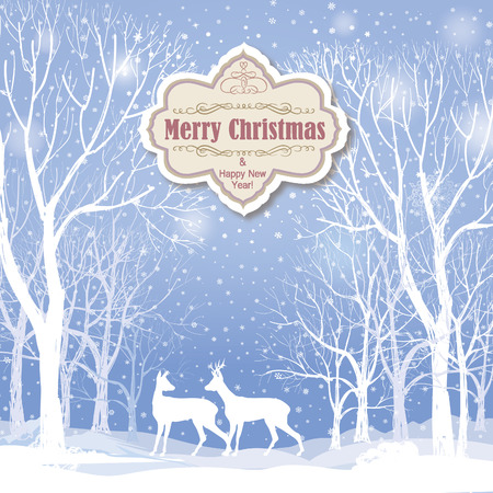 winter wonderland: Christmas background. Snow winter landscape with deers.  Retro Merry Christmas greeting card. Illustration