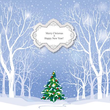winter wonderland: Christmas background. Snow winter landscape.  Retro Merry Christmas greeting card.