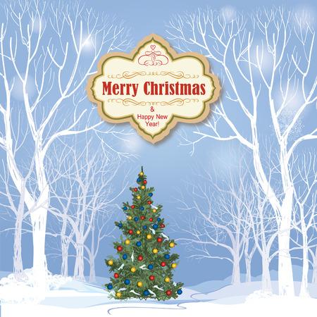 Christmas background. Neige paysage d'hiver. Rétro carte de voeux Joyeux Noël.