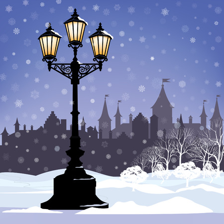 Christmas Winter Cityscape with luminous street lantern, snow flakes and trees. Old street light in city park snow alley. Vector