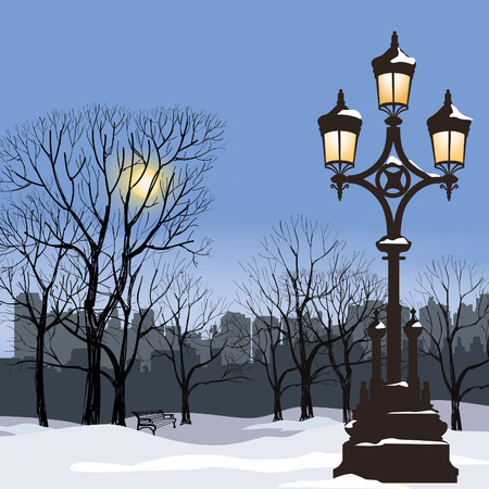 lamp post: Christmas Winter Cityscape with luminous street lamp, snow flakes and trees. Old street light in city park snow alley. Illustration