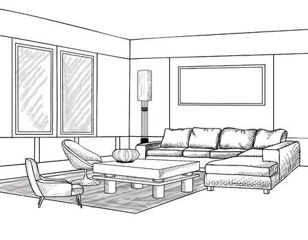 Interior outline sketch. Furniture blueprint. Stock Illustratie