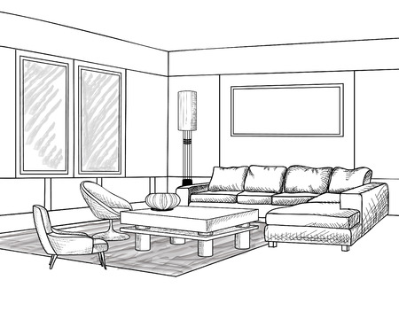 perspective room: Interior outline sketch. Furniture blueprint. Illustration