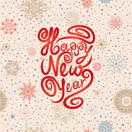 Christmas greeting card over snowflakes seamless pattern. Snow background. Happy New Year wallpaper. Vektoros illusztráció