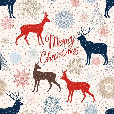 Christmas pattern. Retro Merry Christmas tled background. Festive regular wallpaper. Holiday teture.