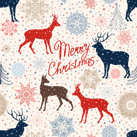Christmas pattern. Retro Merry Christmas tled background. Festive regular wallpaper. Holiday teture. Vector