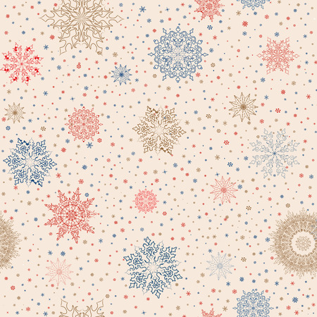 Snowflakes seamless pattern, snow background. Stok Fotoğraf - 34435699