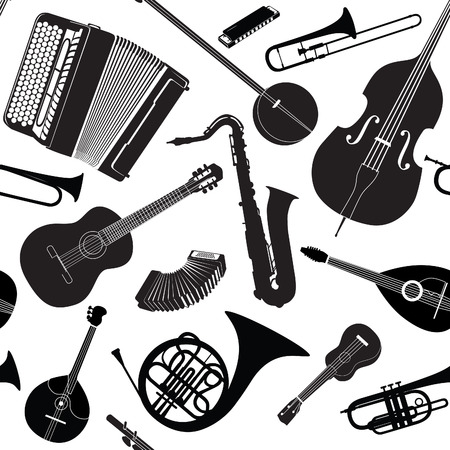 Abstract Music Background. Seamless texture with musical instruments. Musical tiled pattern. 일러스트