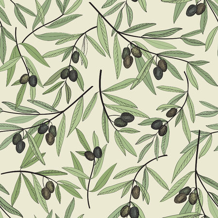 old fashioned vegetables: Olive seamless pattern. Hand drawn olive branch background. Old fashion olive decorative texture for label, pack.