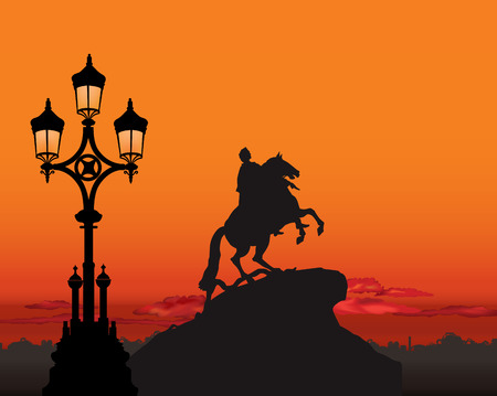 petersburg: Peter the Great Monument, Saint Petersburg landmark, Russia. St. Petersburg sunset landscape  background. Illustration
