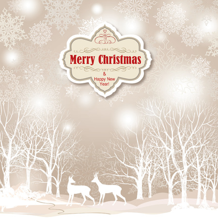 Snow winter landscape with two deers. Merry Christmas background with snowy winter forest. Christmas wallpaper with copy space.