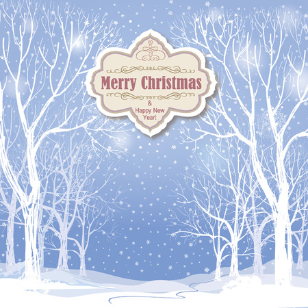 winter forest: Christmas background. Snow winter landscape.  Retro Merry Christmas greeting card.