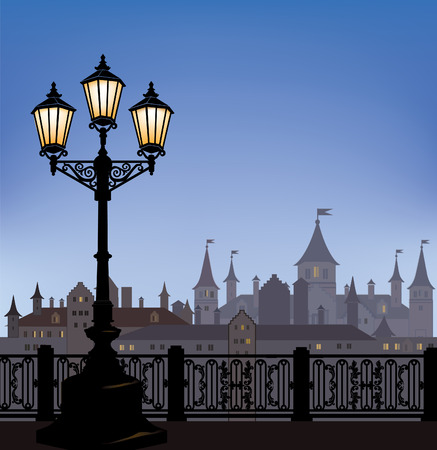 uptown: Night cityscape with luminous street lantern. Old street light in european town with castle on background. Illustration