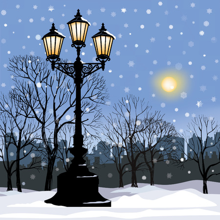 city alley: Winter city landscape. Park alley in snow with steel light. Snowy street. Christmas background. Illustration