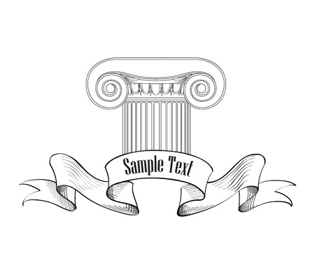 hellenistic: Classic column icon. Roman ionic column architectural label. Sketch illustration on white background.