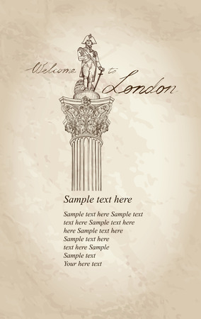 London symbol vintage background with copy space. Admiral Nelson statue colunm on Trafalgar Square, London, England, UK. Vector