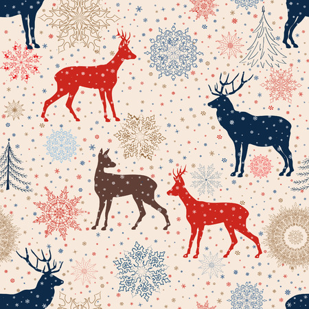 Christmas pattern. Retro Merry Christmas tled background. Festive regular wallpaper. Holiday texture.