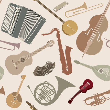 Abstract Music Background. Seamless texture with musical instruments. Musical tiled pattern. Vector
