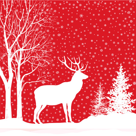 Christmas background. Snow winter landscape with deer. Merry Christmas greeting card. Vector