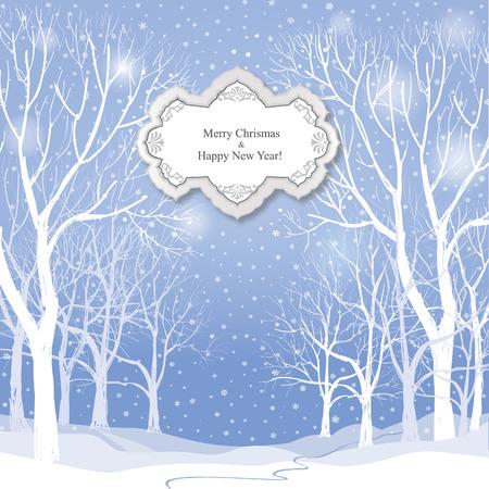 Kerst achtergrond. Sneeuw winterlandschap. Retro Vrolijk kerstfeest wenskaart.
