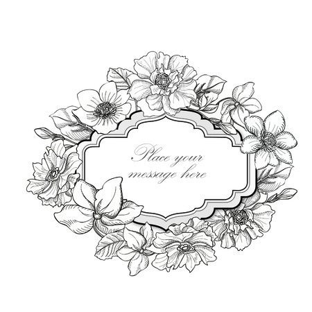 flower sketch: Flower frame. Floral vintage background in victorian style.