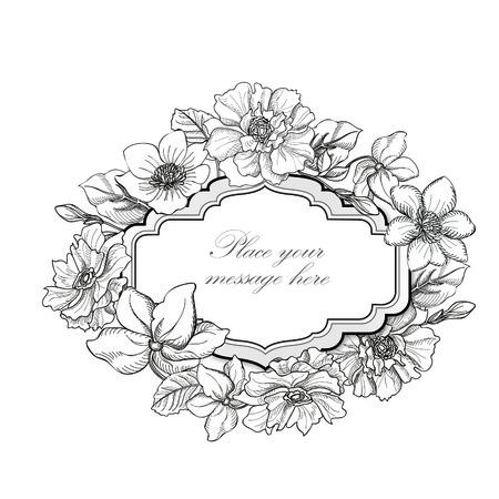 borde de flores: Marco de la flor. Fondo floral de la vendimia en estilo victoriano.