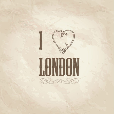 retro type: London symbol. I love London vector sign. Retro type old paper background. England, UK.