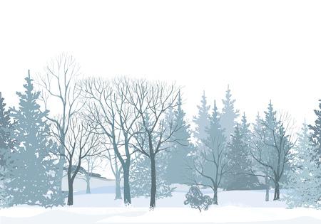 Kerst sneeuw grens. Besneeuwde bos naadloze pattern.Tree zonder bladeren op een witte achtergrond. Plant naadloze textuur. Winter park naadloos behang. Stock Illustratie