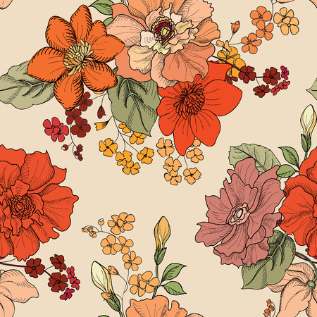 花のシームレスな背景。装飾的な花模様。花と花のシームレスなテクスチャです。