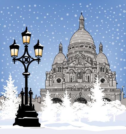 Snowy cityscape wallpaper. Winter holiday snow background. Paris landmark in winter. Vector