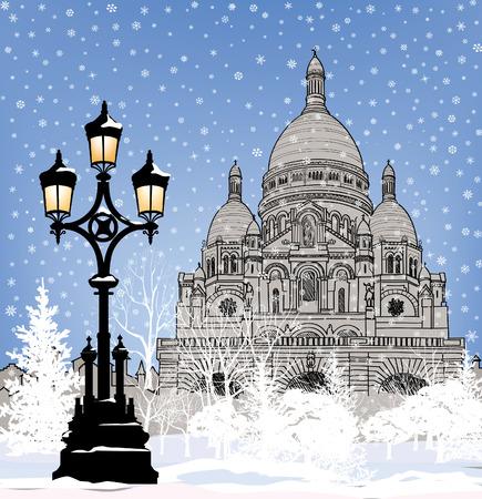 montmartre: Snowy city wallpaper. Winter Christmas holiday snow background. Paris landmark in winter. Illustration