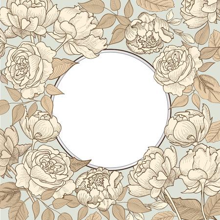 フラワー フレーム。ビンテージのビクトリア朝のスタイルで花のビンテージ背景。