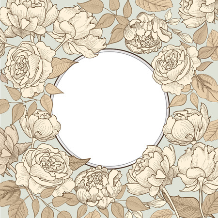 Flower frame. Floral vintage background in vintage victorian style. Illusztráció