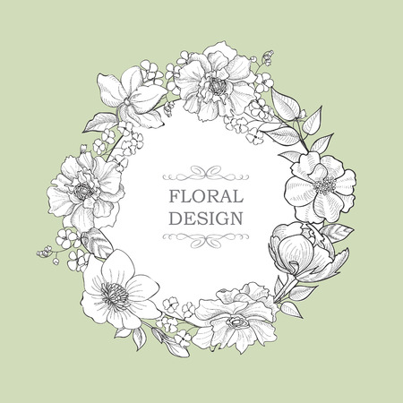 Floral  frame greeting card. Flower vintage background in victorian style.