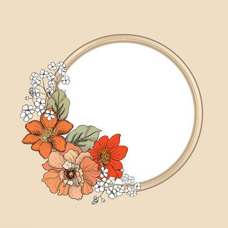 rose garden: Flower frame. Floral vintage background in victorian style.