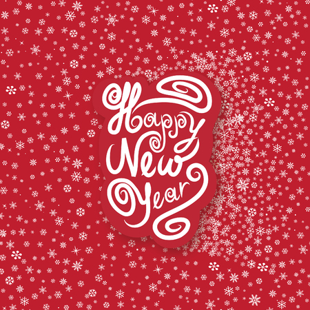 Christmas greeting card over snowflakes seamless pattern. Snow background. Happy New Year wallpaper.