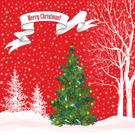 Christmas background. Snow winter landscape with fir tree. Merry Christmas greeting card. Vector